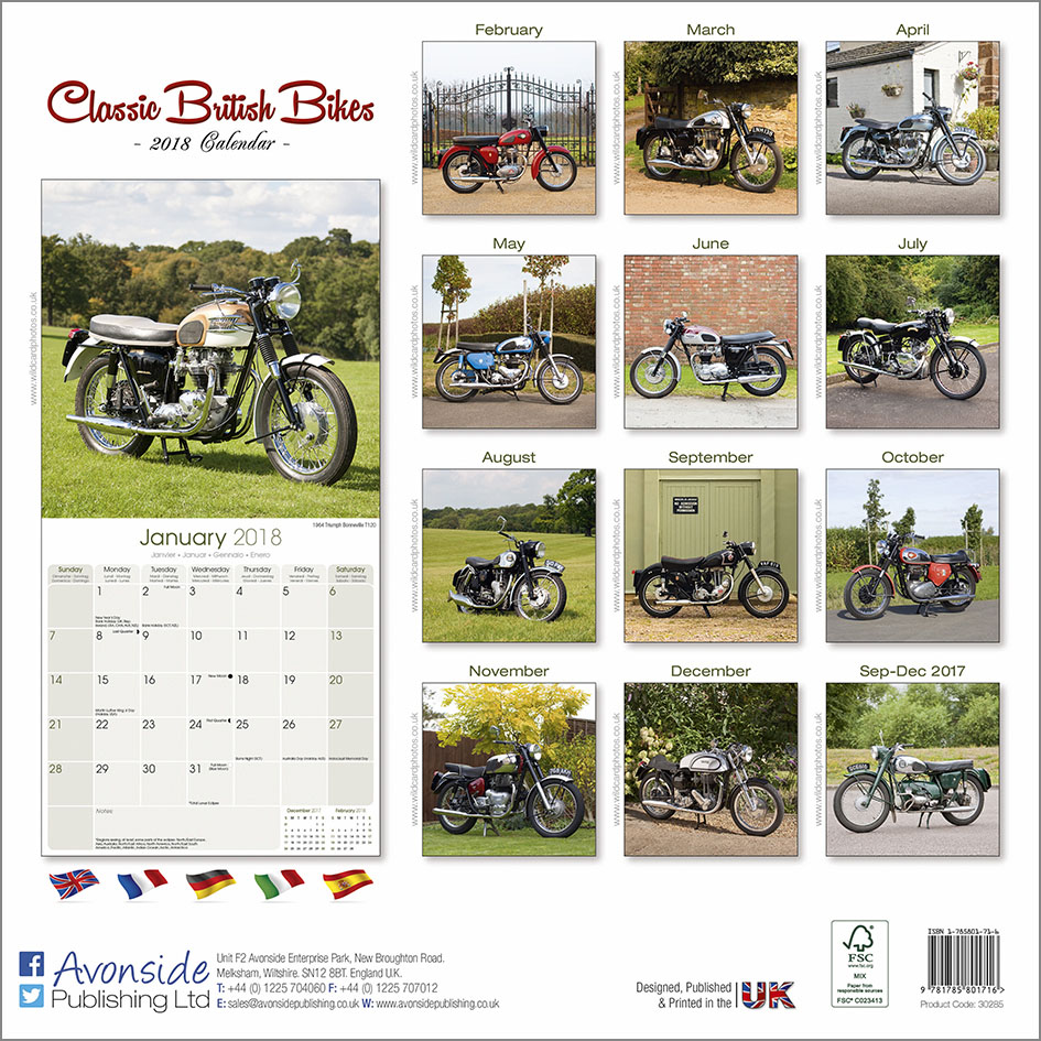 Classic British Bikes 2018 - Back Cover